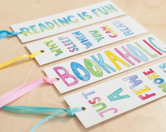Set of 4 Watercolor, Illustration, Bookmarks, cute bookmark, book lover gift, funny bookmark, book club gift, watercolor bookmark
