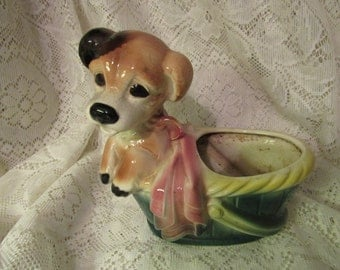 Vintage Puppy Dog and Basket Planter