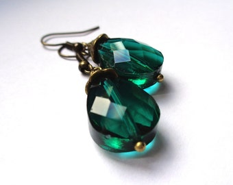 Bronze tone, bronze dangle earrings faceted drop shaped glass beads emerald