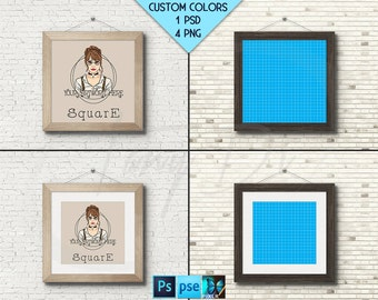 Square #W03 Light & Dark Wooden 10x10 Matted Unmatted Frame on White Brick Wall, 4 Print Display Mockups, PNG PSD PSE, 25x25cm Custom colors