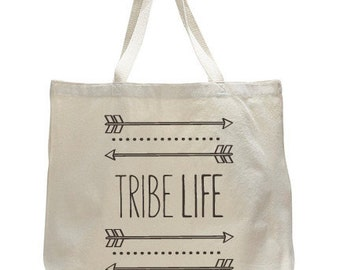 The Tribe Life Canvas Tote, Large Reusable Shopping Bag, Reusable Shopping Bag, Funny Reusable Shopping Bag, Canvas Shopping Bag, Grocery