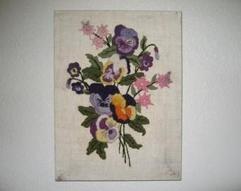 Vintage Crewel flower picture on canvas