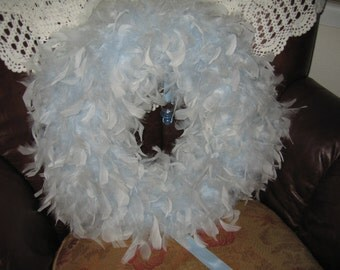 Beautiful Baby Blue Feather Wreath/Shabby Chic