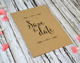Rustic Kraft Wedding Save the Date Sample, Happily Ever After, 7x5, SAMPLE ONLY