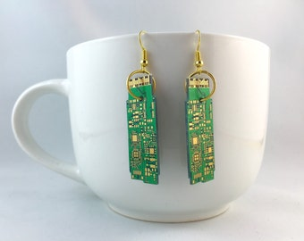 Green & Gold Circuit Board Earrings