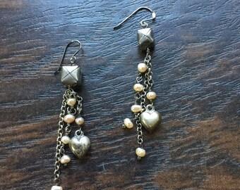 Vintage Sterling silver earrings, cascading pearls