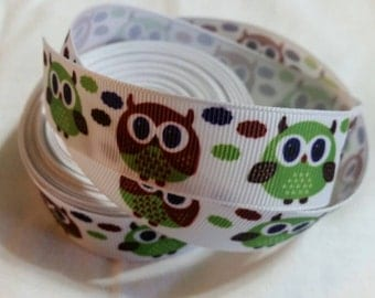 Owl Grosgrain Ribbon GR017 I Grosgrain Bow Ribbon | Grosgrain Ribbon | Bow Making Ribbon
