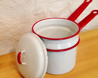 Enamelware Double Boiler - White & Red Enamel