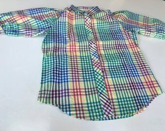 Plaid blouse preppy career wear by Cheryl Tiegs for K Mart