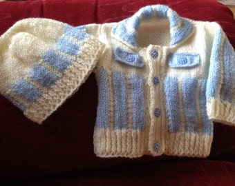 Baby Knitting Patterns Cardi with vertical stripes and matching cap 0-3mths