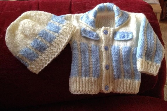 Baby Knitting Pattern Cardi with vertical stripes and matching cap 0-3mths