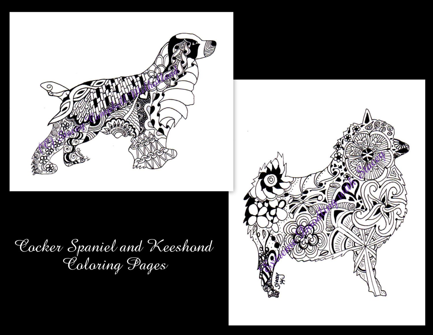cocker spaniel and keeshond coloring pages digital download