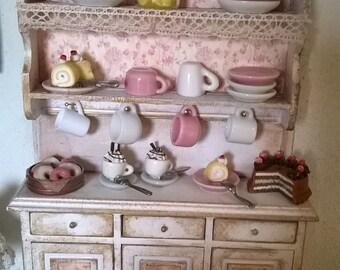 Miniature dollhouse kitchen shelf with accessories-shelves kitchen with accessories