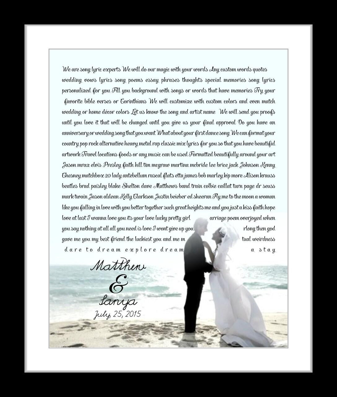 Song Lyric Wedding Vows Print Wedding Keepsake Wedding Vow