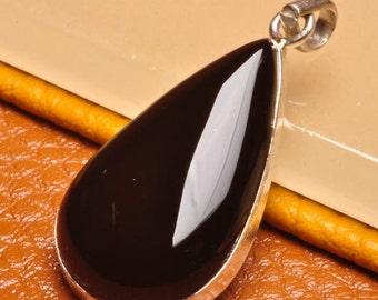 Black Onyx Sterling Silver  pendant  (#J1748)