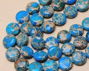 1 Strand of 12 mm coin Blue Sea Sediment  beads   (#J1588)