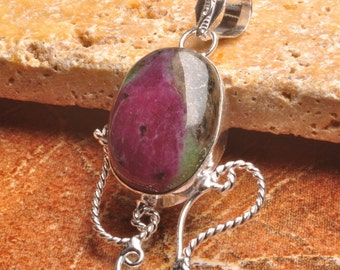 "Ruby in Zoisite silver plated  2-1/8"" pendant  (#J700)"