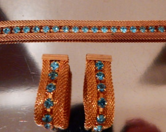 Vintage Sarah Coventry Clip Earrings & Bracelet Set