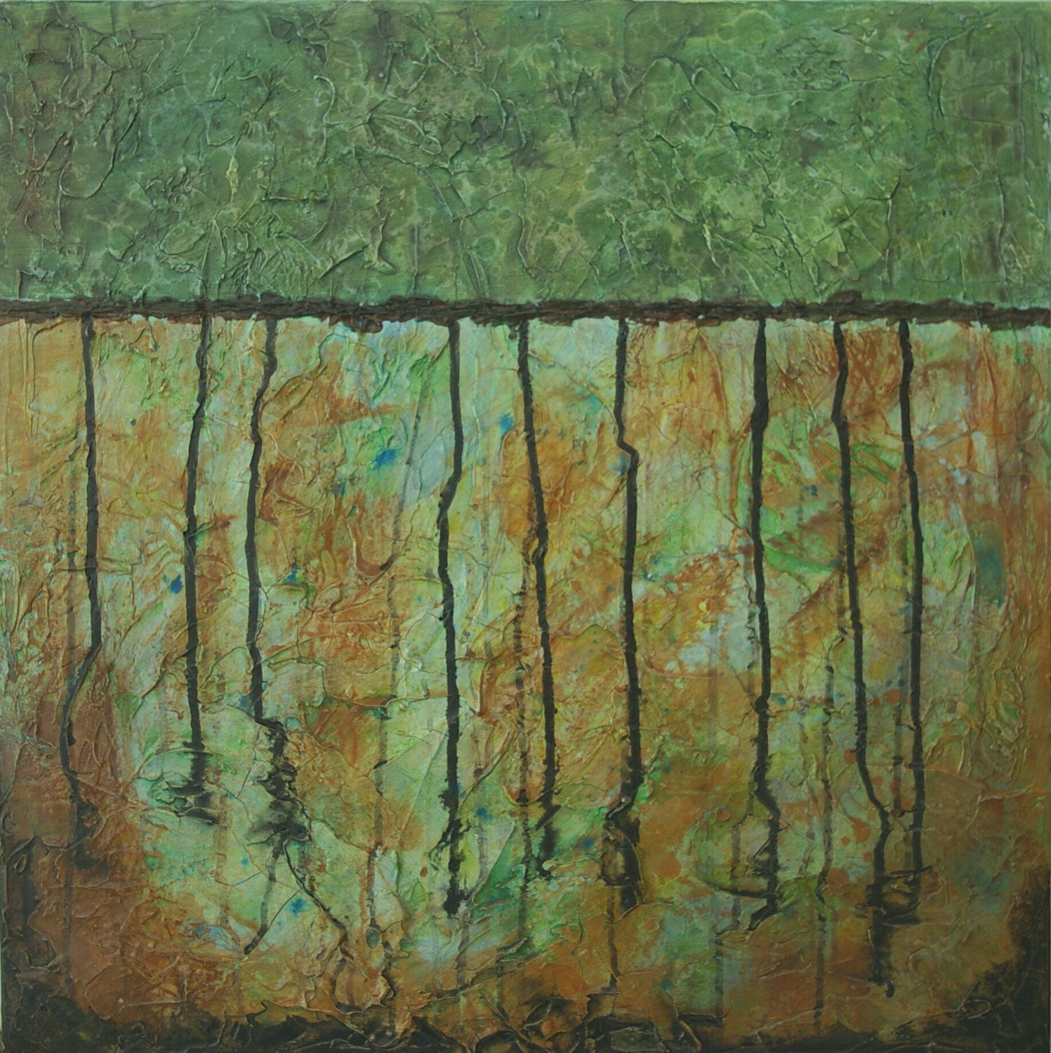 Large abstract acrylic painting textured painting brown for Textured acrylic abstract paintings