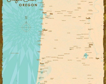 Central Oregon Coast Map - Wood or Metal Sign