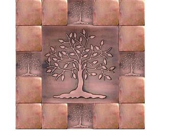 Kitchen backsplash tiles, accent tiles,  tree of happiness, tree of life wall art. SET OF 17 TILES