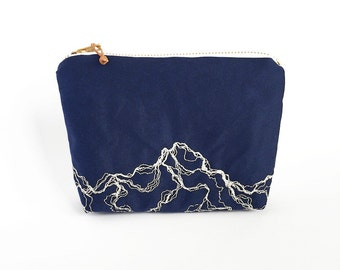 Marble pencil case, embroidered purse, medium zipper pouch, Modern embroidery navy blue make-up bag