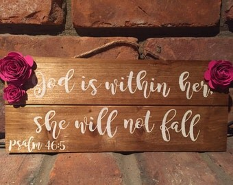 God Is Within Her Psalm Hand Painted Sign