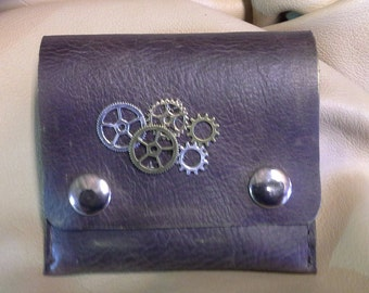 Steampunk leather pouch with clip