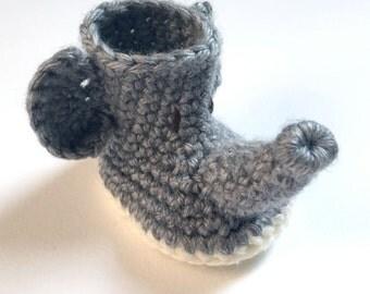Crochet Elephant Baby Booties - Crochet Baby Shoes - Animal Baby Booties - Elephant Baby Shower - Newborn Photo Prop - Gender Neutral Baby