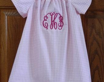 Monogrammed Peasant Dress with flutter sleeves for Baby/Toddler/Girl, Spring Dress, Easter Dress
