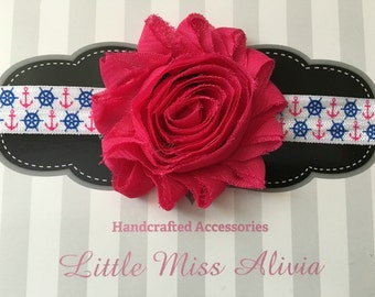 Anchers Away Headband - Pink - Shabby Flowers - Headbands - Toddler - Babies