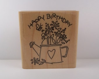 Stampin' Up! HAPPY BIRTHDAY Wood Mounted Rubber Stamp from Nice N' Easy Notes Set, Flowers, Watering Can, Gardening, Butterfly