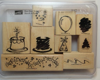 Stampin' Up! SKETCH A PARTY, Two-Step Set of 9 Wood Mounted Rubber Stamps, Gently Used, Happy Birthday Celebration