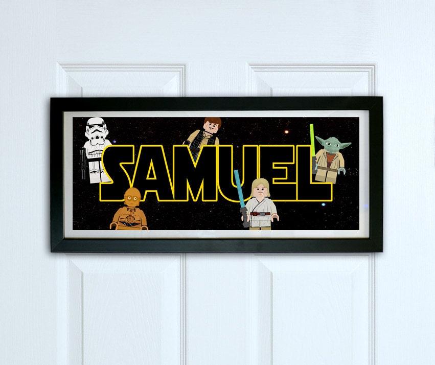 Personalised door sign framed lego star wars door sign for Signs for kids rooms