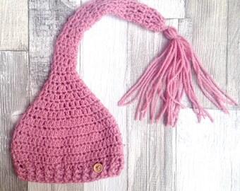 Pink pixie hat, Baby pixie hat, Girls pixie hat, Crochet baby hat, Crocheted girls hat, Pink hat, Elf hat,Hippy hat, Newborn gift, 0-3 3-6