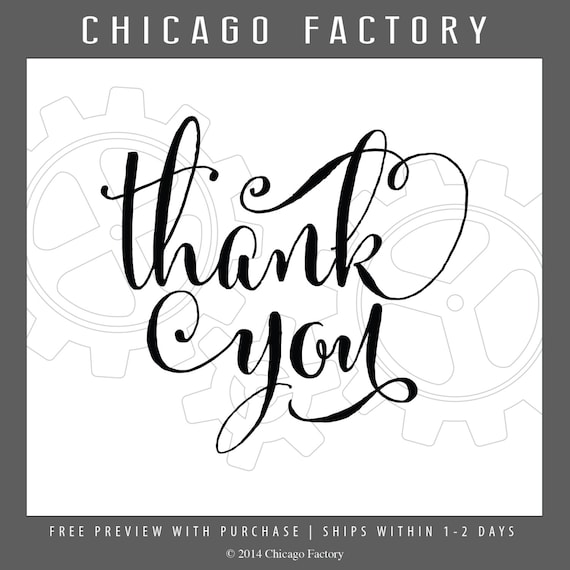 Calligraphy stamp thank you rubber by