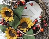 Fall/Autumn Wreath, Fall Wreath, Sunflower Wreath, Twig Wreath, Autumn Wreath