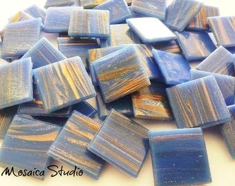 Wedgewood Blue Gold Thread Tiles 20x20x4mm x50pc