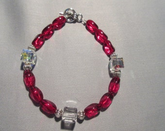 Swarovski A/B Cubes and Red glass beaded bracelet