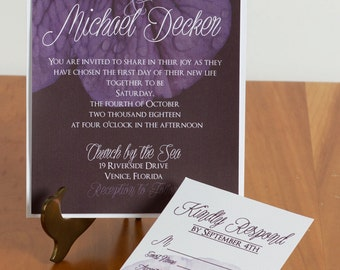 FREE SHIPPING!! Purple Petal Wedding Invitations