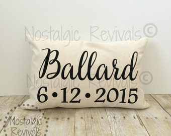 Wedding Pillow Cover, Personalized Last Name and Date, Lumbar, Custom,  Anniversary, Bride, Love, Valentine