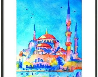 Watercolor ORIGINAL Painting, Turkey, Istanbul, Blue Mosque, 9x12 inch, colorful, orange and blue,architecture,dome