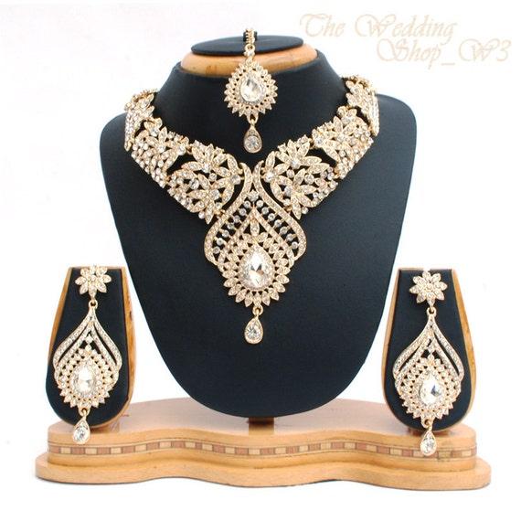 Elegant Bridal Set Heavy Gold Plated Diamante Crystal