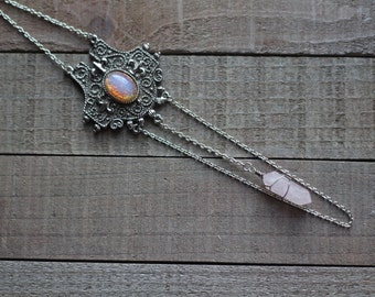 SALE R O Y A L S - medieval inspired focal piece statement necklace with rose quartz point and opal glass cabochon