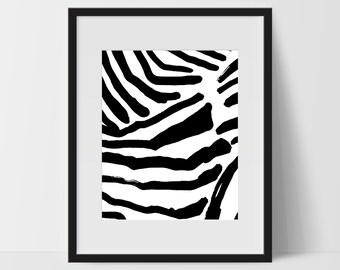 Zebra Wall Art, Home Decor, Modern Print, Printable Wall Art, Abstract Art, Black White, Decorations, Digital Print