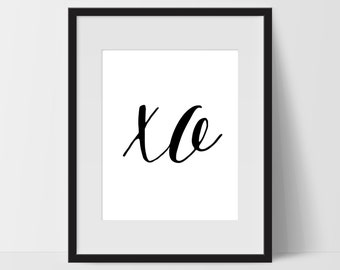 XO Art Prints, Typography Wall Art, xo Print Art, xo Artwork, xo Wall Decor, Dorm, Artwork, xo Print, Black White