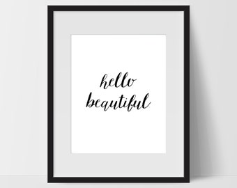 Hello Beautiful Art Prints, Typography Wall Art, Hello Beautiful Print Art, Hello Beautiful Artwork, Hello Beautiful Wall Decor, Dorm