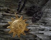 OM Necklace / Mandala Trival / Boho / Geometric / Brass /  Handmade Macrame Necklace