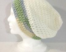 30% OFF 3 Days Oct 3 4 5 Vintage Crochet Hat, 70s Hat, Crochet Cap, Winter Hat, White, Green, Purple, Hand Crochet, Fashion Hat, Yarn Hat, W