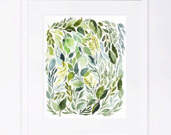 Leaves Watercolor Print